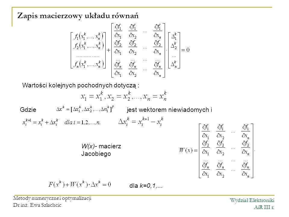 Zapis macierzowy układu równań
