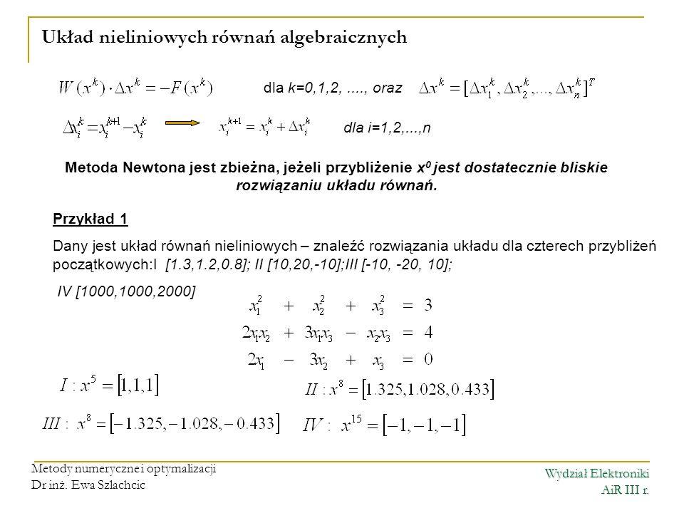 Układ nieliniowych równań algebraicznych