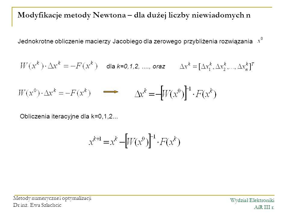 Modyfikacje metody Newtona – dla dużej liczby niewiadomych n