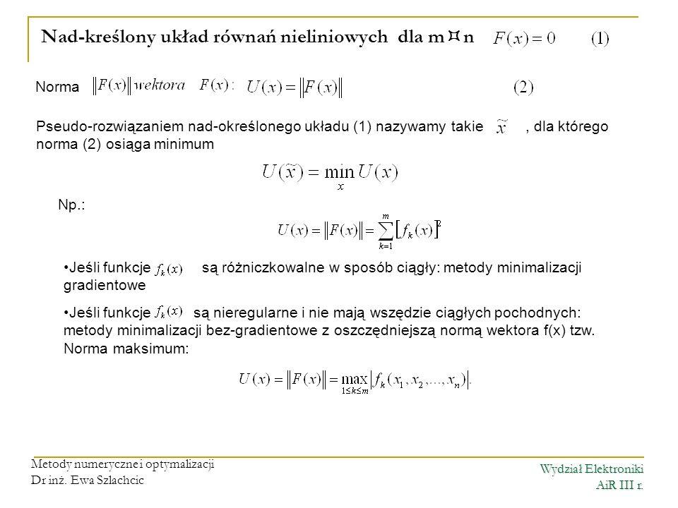 Nad-kreślony układ równań nieliniowych dla mn
