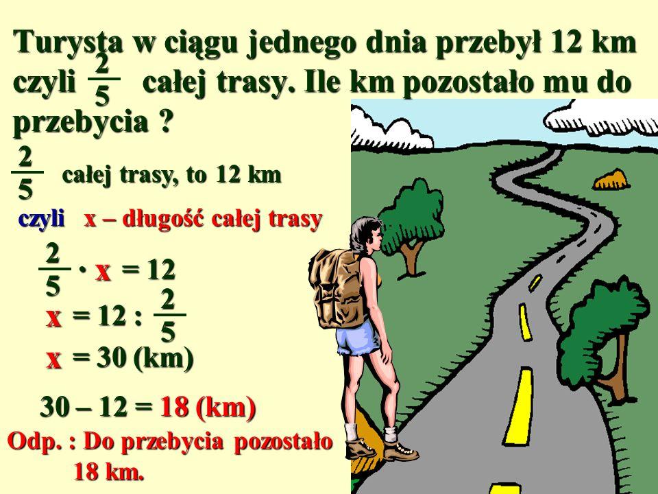 Turysta w ciągu jednego dnia przebył 12 km czyli całej trasy