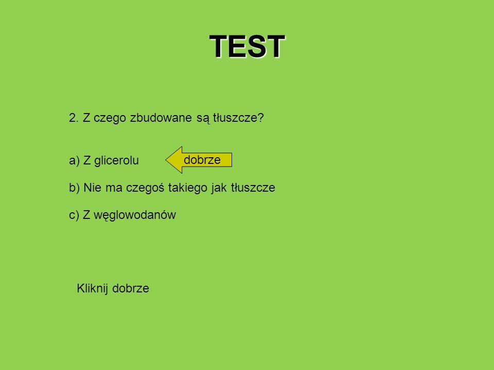TEST 2. Z czego zbudowane są tłuszcze dobrze a) Z glicerolu