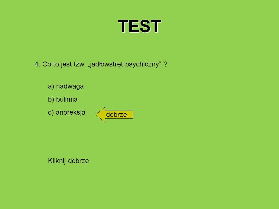"""TEST 4. Co to jest tzw. """"jadłowstręt psychiczny a) nadwaga"""