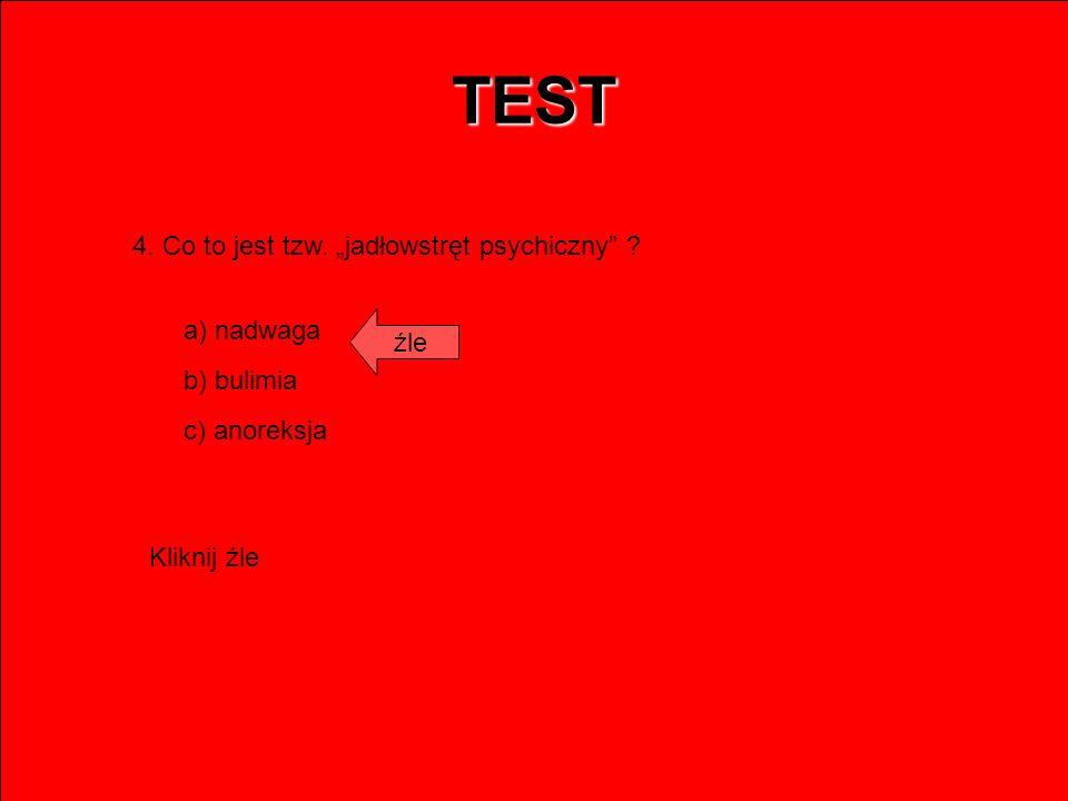 """TEST 4. Co to jest tzw. """"jadłowstręt psychiczny a) nadwaga źle"""