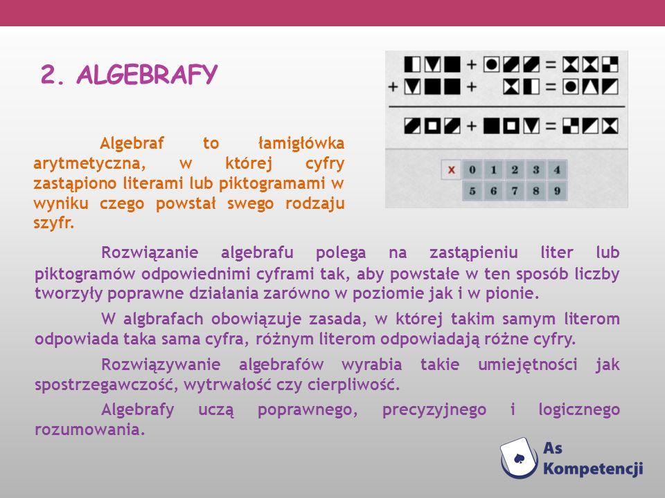 2. ALGEBRAFY Algebraf to łamigłówka arytmetyczna, w której cyfry zastąpiono literami lub piktogramami w wyniku czego powstał swego rodzaju szyfr.