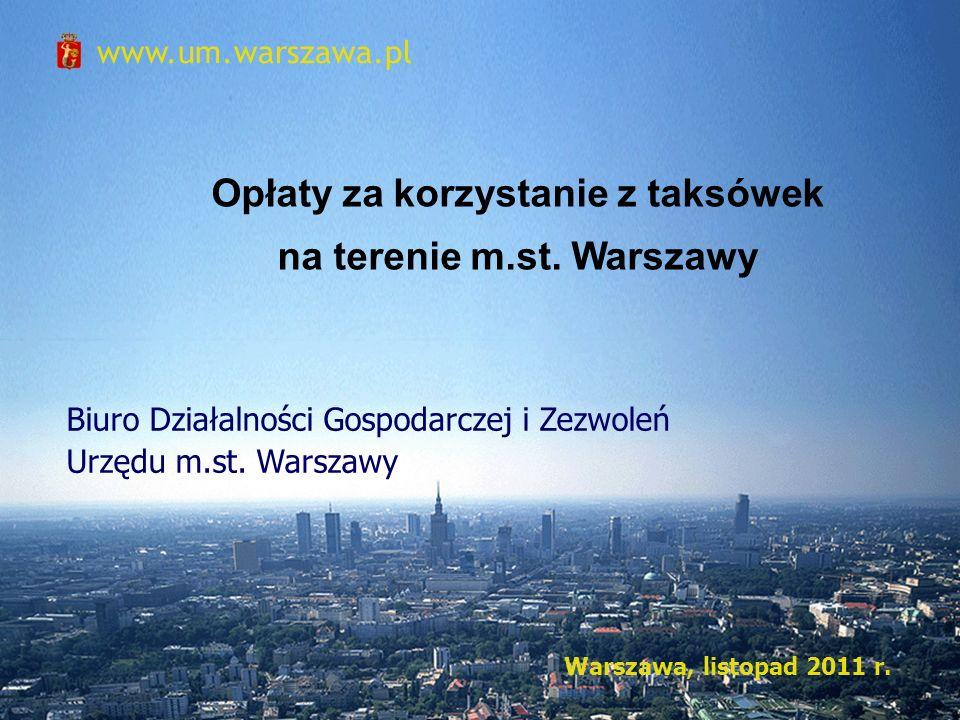 Opłaty za korzystanie z taksówek na terenie m.st. Warszawy