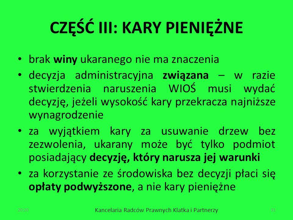 CZĘŚĆ III: KARY PIENIĘŻNE