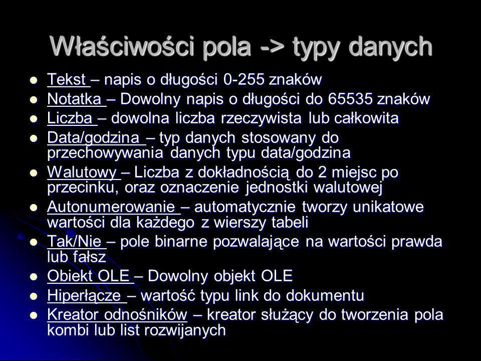Właściwości pola -> typy danych
