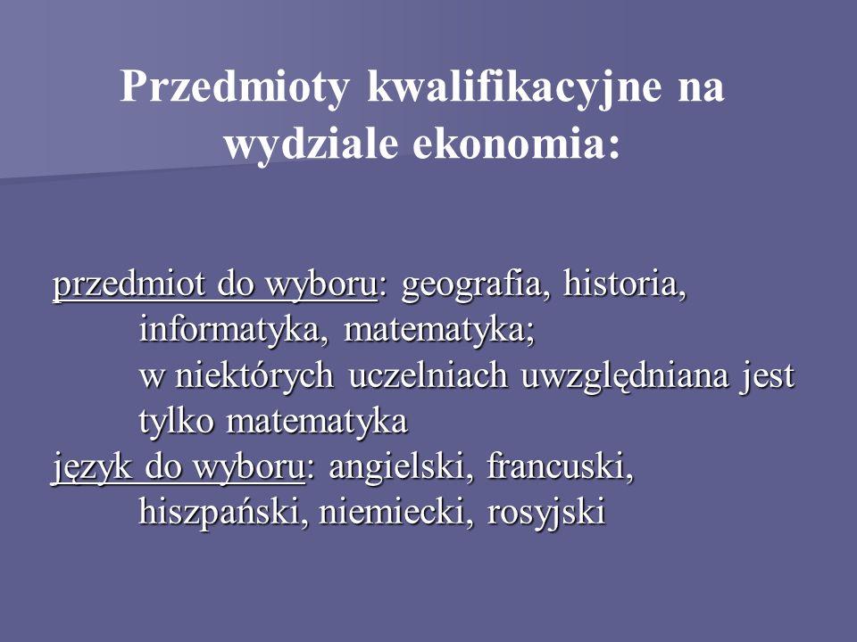 Przedmioty kwalifikacyjne na wydziale ekonomia: