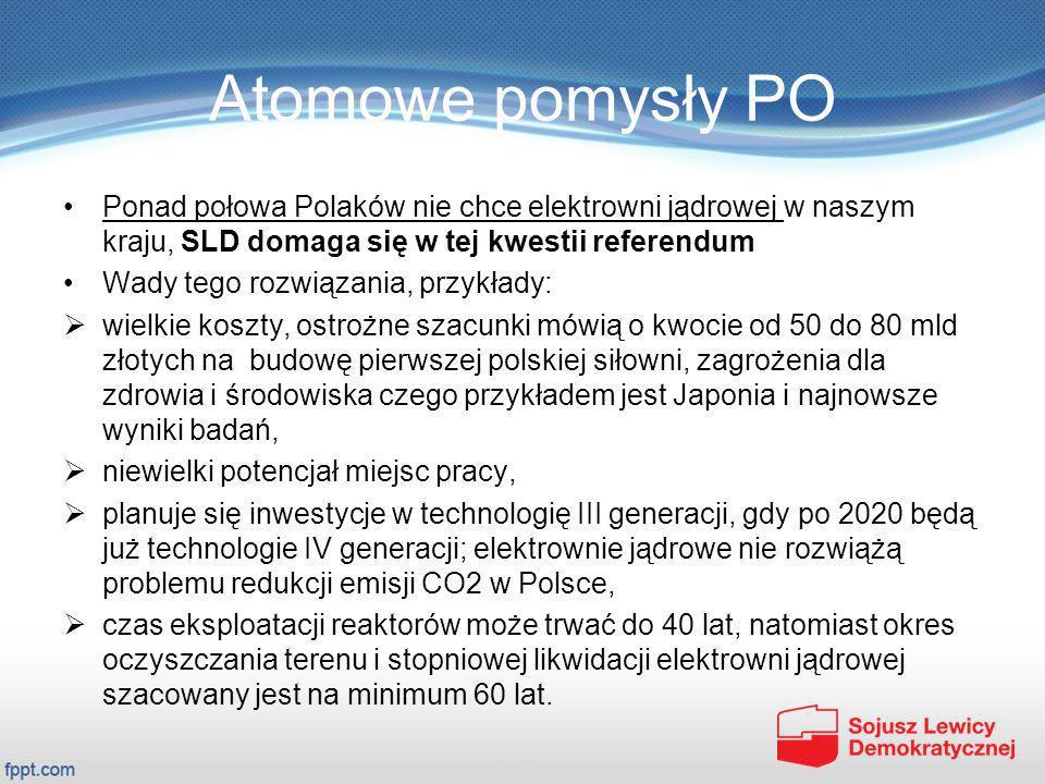 Atomowe pomysły PO Ponad połowa Polaków nie chce elektrowni jądrowej w naszym kraju, SLD domaga się w tej kwestii referendum.