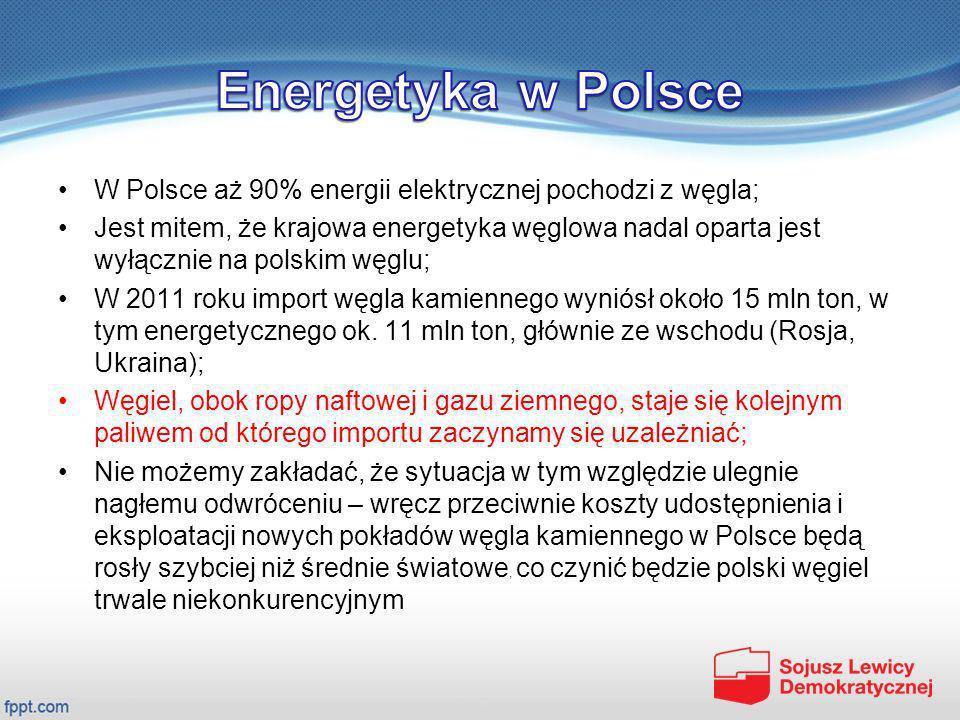Energetyka w Polsce W Polsce aż 90% energii elektrycznej pochodzi z węgla;