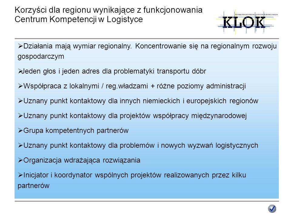 Korzyści dla regionu wynikające z funkcjonowania Centrum Kompetencji w Logistyce