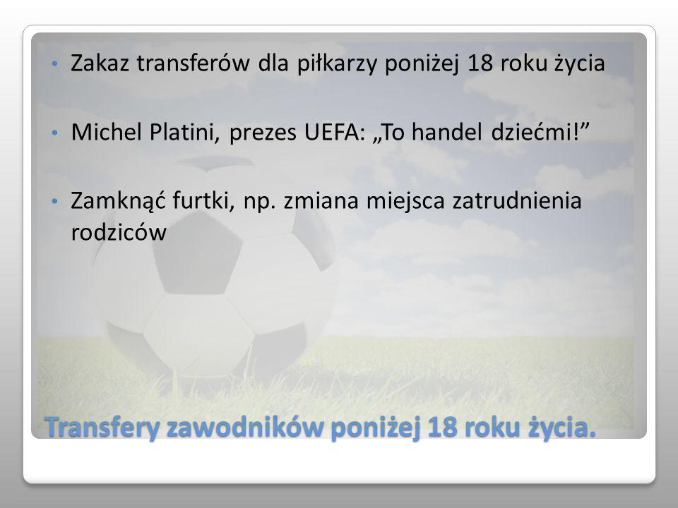 Transfery zawodników poniżej 18 roku życia.
