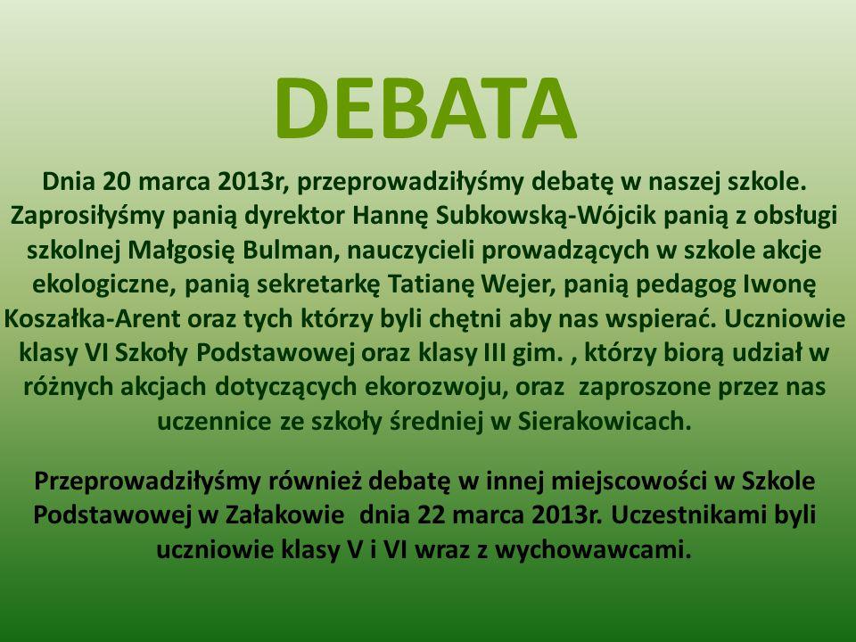 DEBATA Dnia 20 marca 2013r, przeprowadziłyśmy debatę w naszej szkole