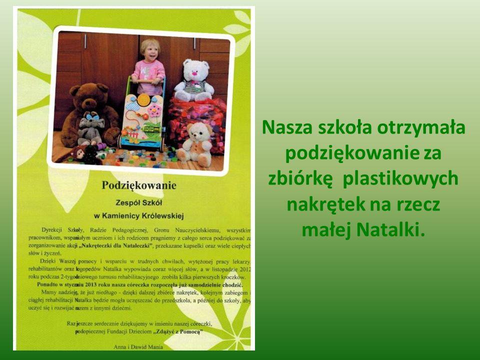 Nasza szkoła otrzymała podziękowanie za zbiórkę plastikowych nakrętek na rzecz małej Natalki.