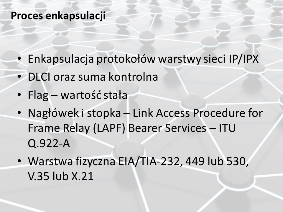 Enkapsulacja protokołów warstwy sieci IP/IPX DLCI oraz suma kontrolna