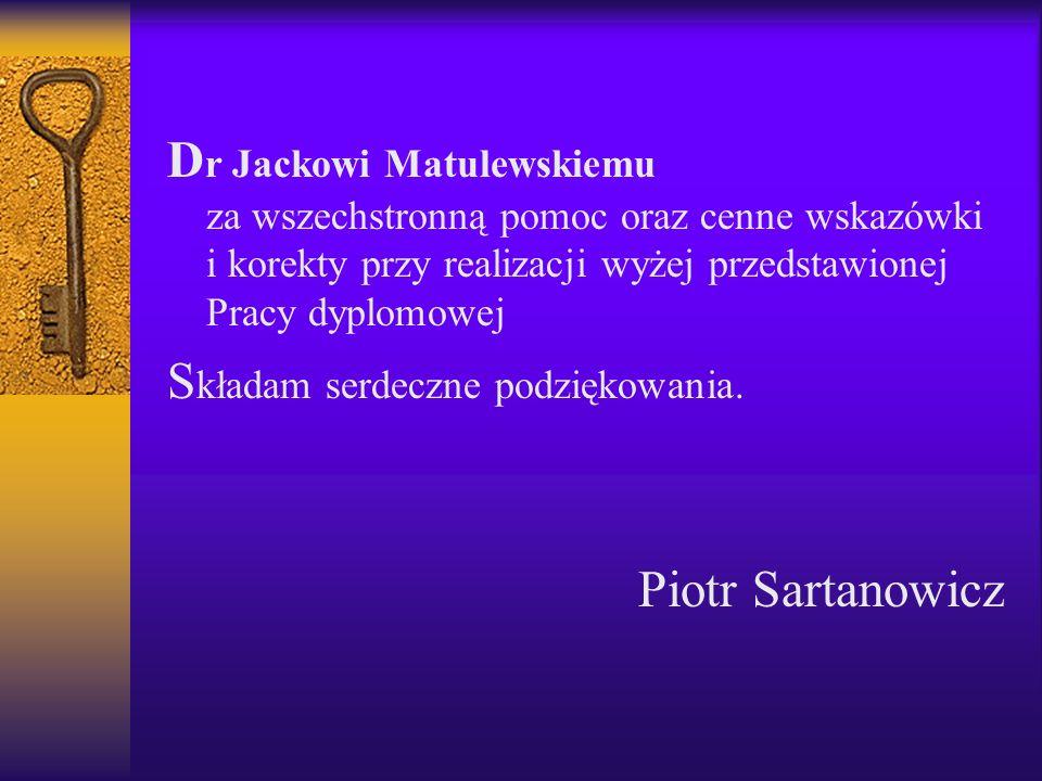 Dr Jackowi Matulewskiemu za wszechstronną pomoc oraz cenne wskazówki i korekty przy realizacji wyżej przedstawionej Pracy dyplomowej