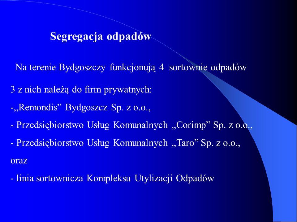 Segregacja odpadówNa terenie Bydgoszczy funkcjonują 4 sortownie odpadów. 3 z nich należą do firm prywatnych:
