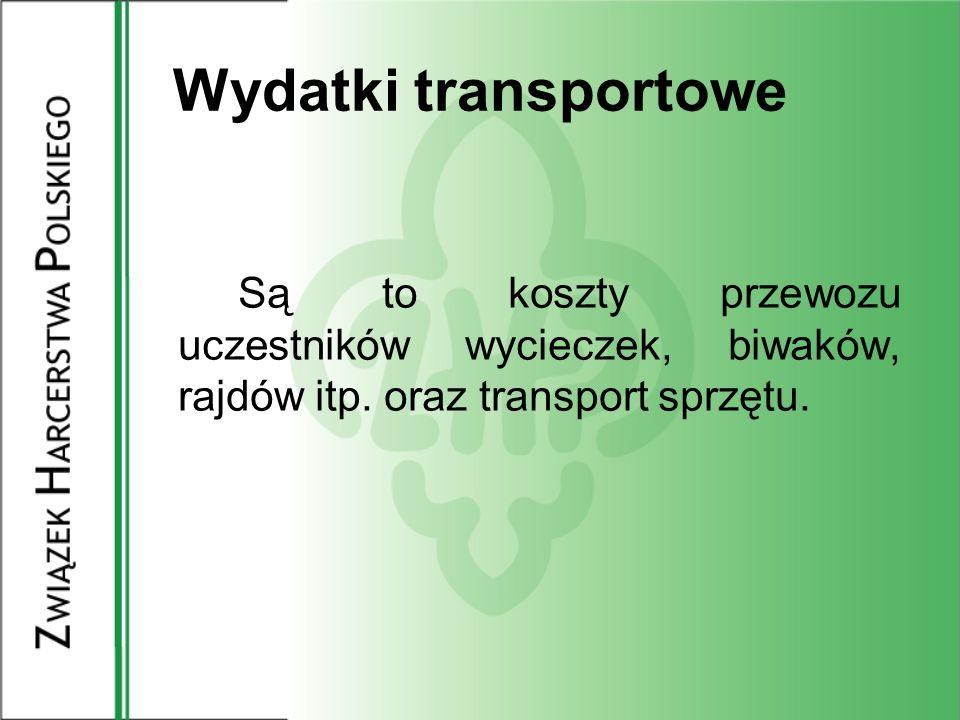 Wydatki transportoweSą to koszty przewozu uczestników wycieczek, biwaków, rajdów itp.