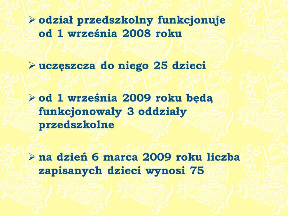 odział przedszkolny funkcjonuje od 1 września 2008 roku