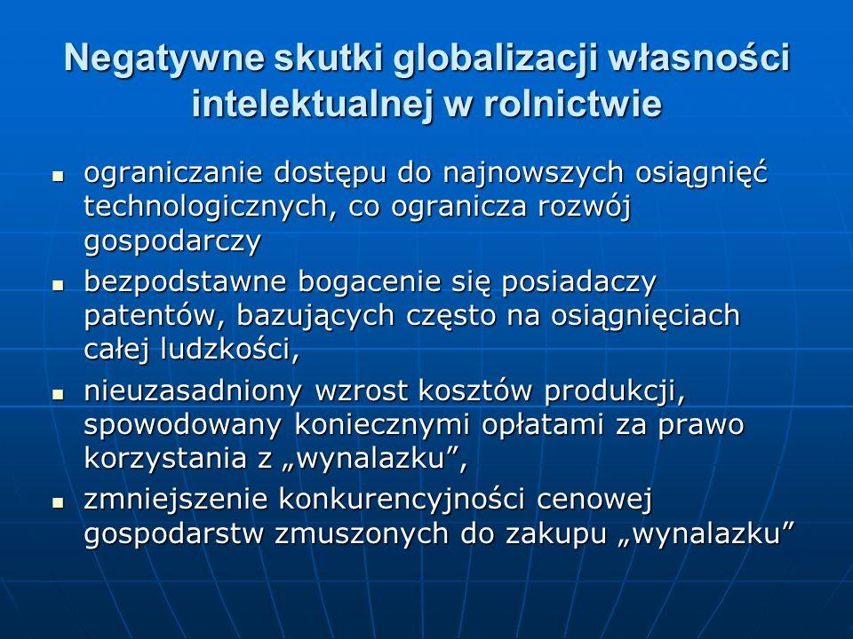 Negatywne skutki globalizacji własności intelektualnej w rolnictwie