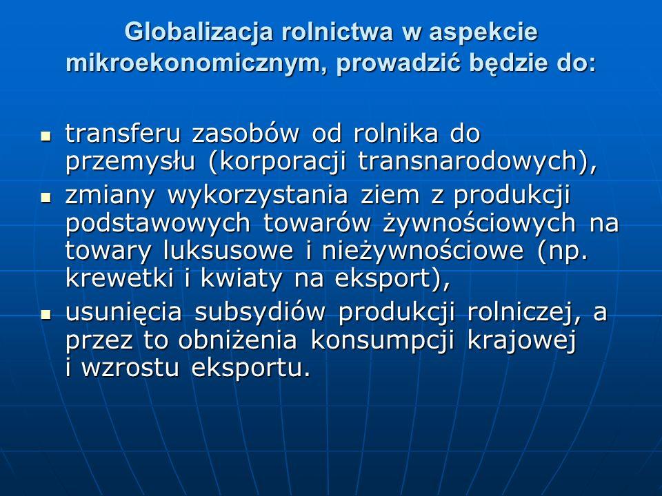 Globalizacja rolnictwa w aspekcie mikroekonomicznym, prowadzić będzie do: