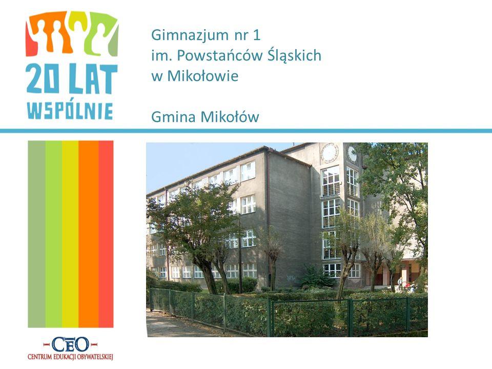 Gimnazjum nr 1 im. Powstańców Śląskich w Mikołowie Gmina Mikołów