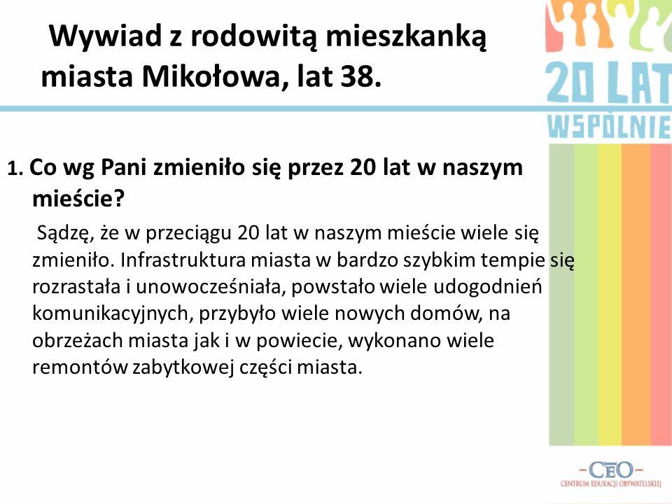Wywiad z rodowitą mieszkanką miasta Mikołowa, lat 38.
