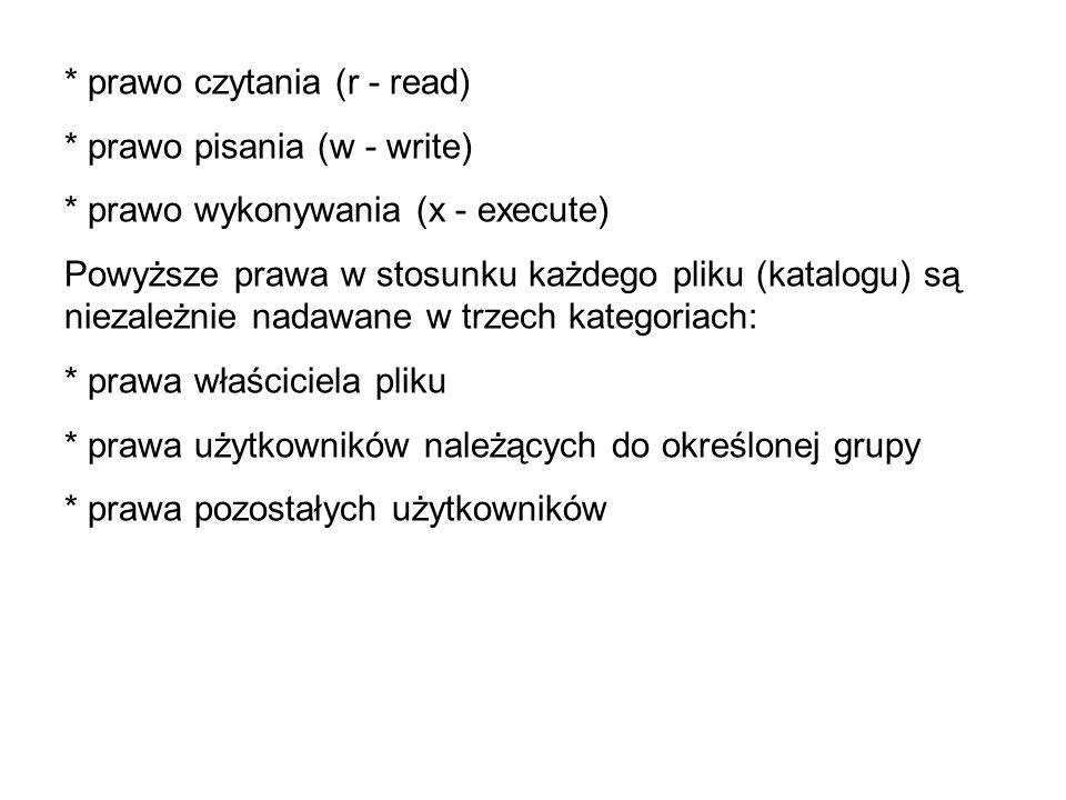 * prawo czytania (r - read)