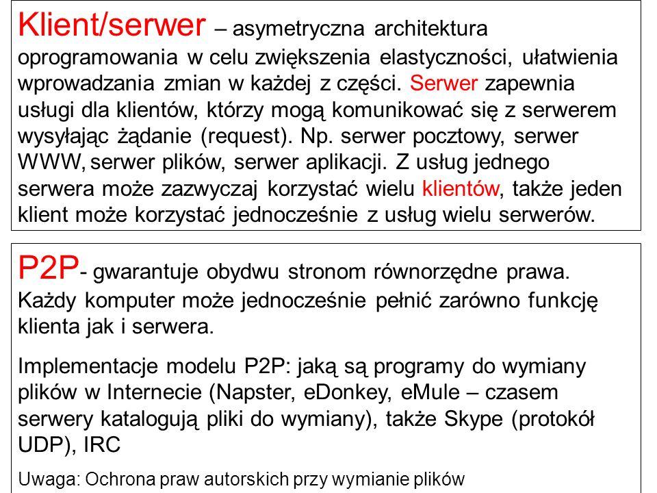 Klient/serwer – asymetryczna architektura oprogramowania w celu zwiększenia elastyczności, ułatwienia wprowadzania zmian w każdej z części. Serwer zapewnia usługi dla klientów, którzy mogą komunikować się z serwerem wysyłając żądanie (request). Np. serwer pocztowy, serwer WWW, serwer plików, serwer aplikacji. Z usług jednego serwera może zazwyczaj korzystać wielu klientów, także jeden klient może korzystać jednocześnie z usług wielu serwerów.