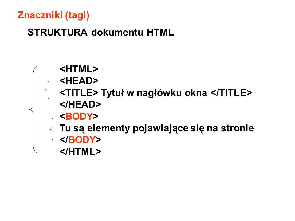Znaczniki (tagi) STRUKTURA dokumentu HTML. <HTML> <HEAD> <TITLE> Tytuł w nagłówku okna </TITLE> </HEAD>