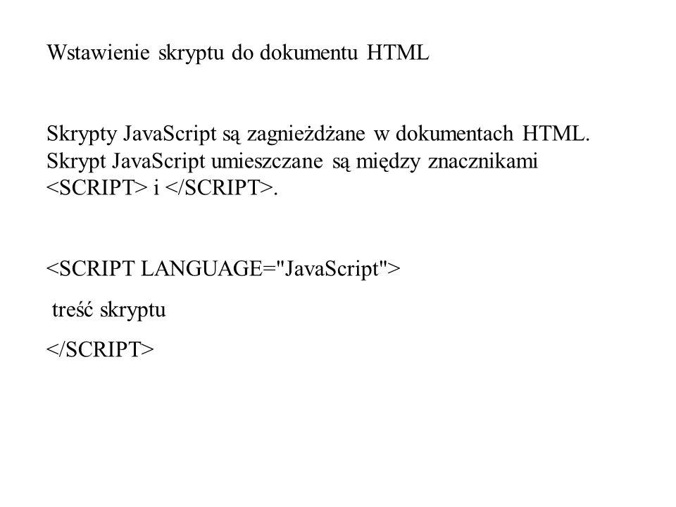 Wstawienie skryptu do dokumentu HTML