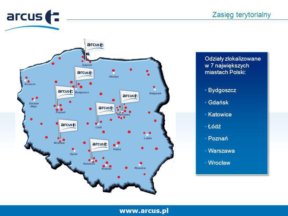 Zasięg terytorialnyOdziały zlokalizowane w 7 największych miastach Polski: Bydgoszcz. Gdańsk. Katowice.
