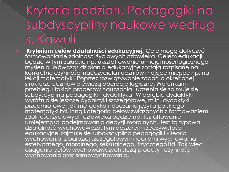 Kryteria podziału Pedagogiki na subdyscypliny naukowe według s. Kawuli