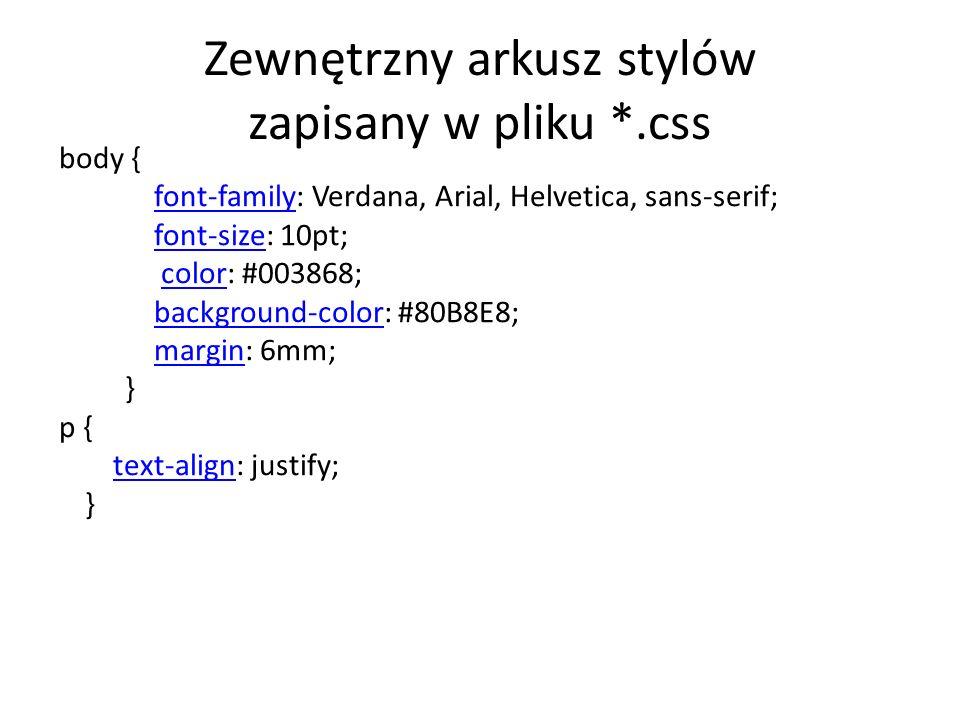 Zewnętrzny arkusz stylów zapisany w pliku *.css