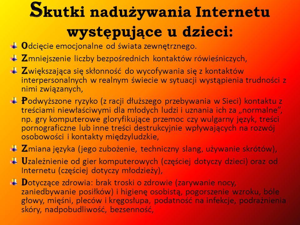 Skutki nadużywania Internetu występujące u dzieci: