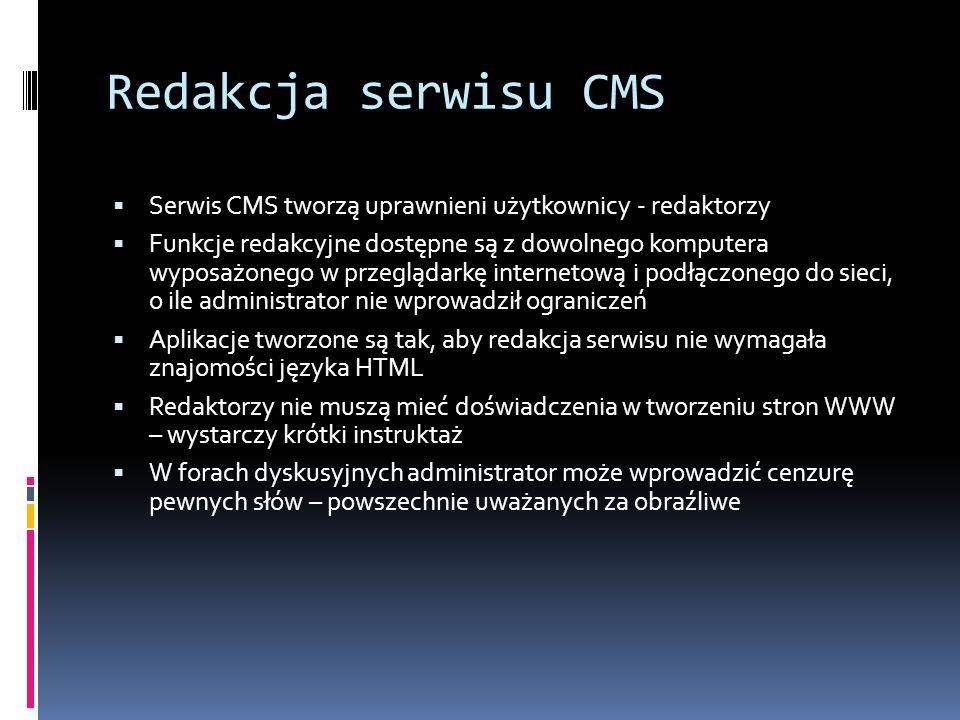 Redakcja serwisu CMS Serwis CMS tworzą uprawnieni użytkownicy - redaktorzy.