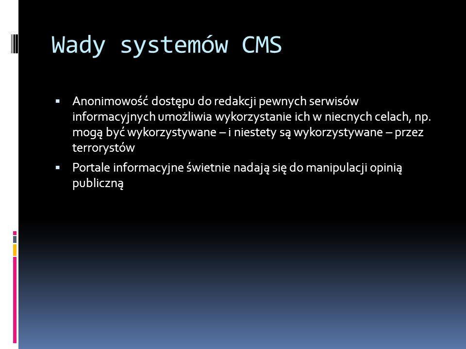 Wady systemów CMS