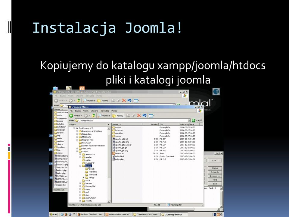 Kopiujemy do katalogu xampp/joomla/htdocs pliki i katalogi joomla