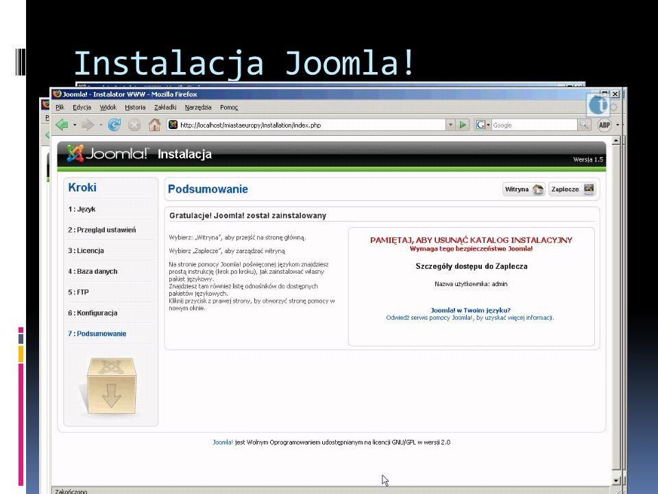 Instalacja Joomla. Uruchamiamy przeglądarkę i wpisujemy http://localhost.