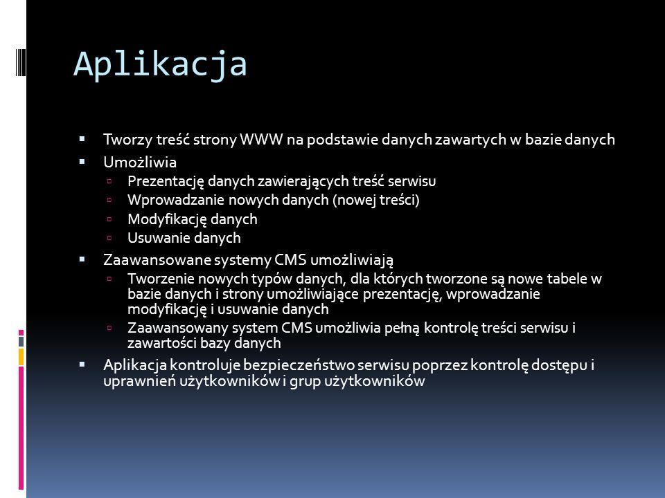Aplikacja Tworzy treść strony WWW na podstawie danych zawartych w bazie danych. Umożliwia. Prezentację danych zawierających treść serwisu.