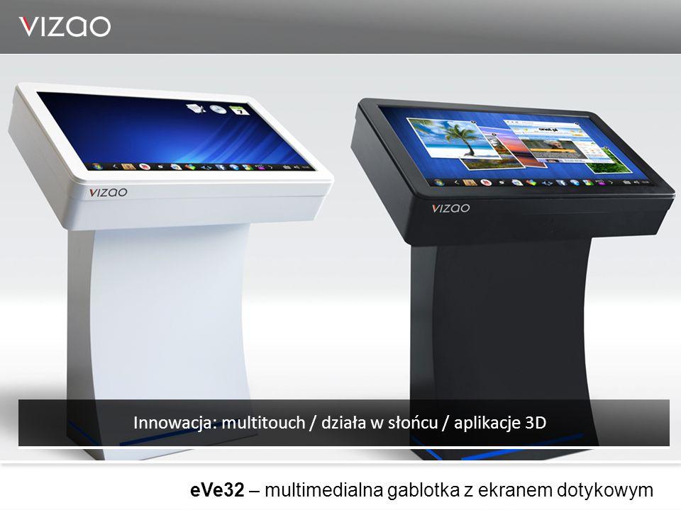 Innowacja: multitouch / działa w słońcu / aplikacje 3D