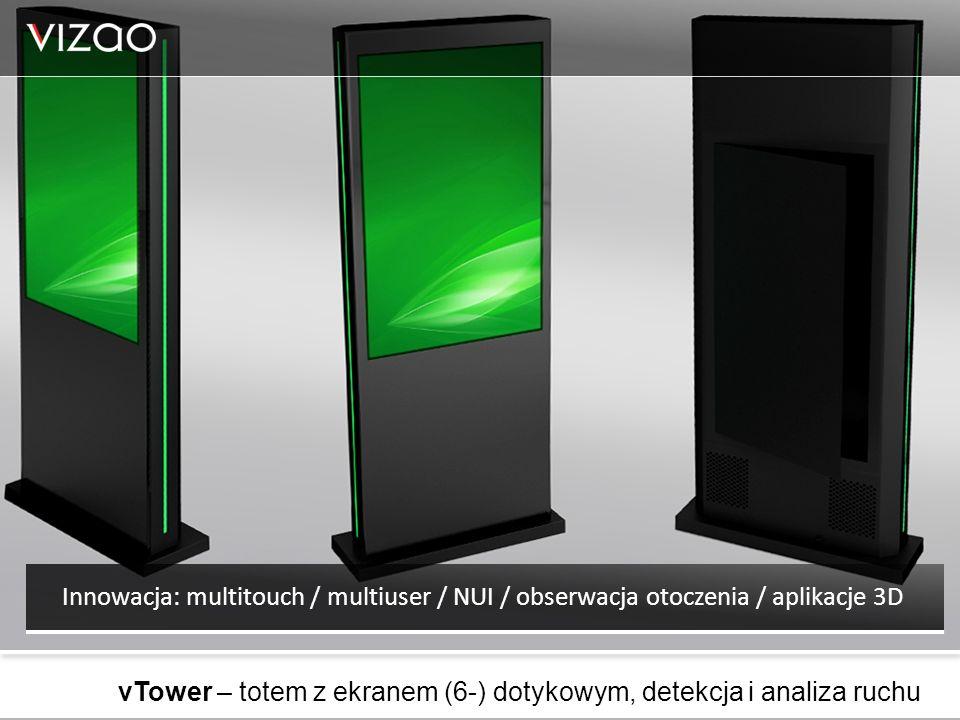 Innowacja: multitouch / multiuser / NUI / obserwacja otoczenia / aplikacje 3D