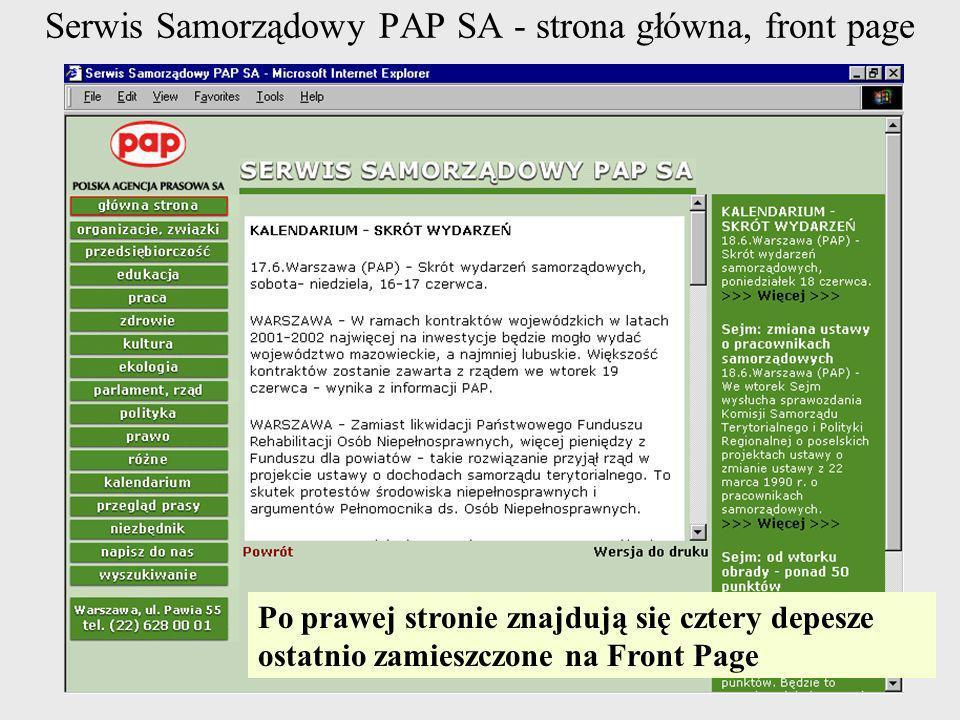 Serwis Samorządowy PAP SA - strona główna, front page