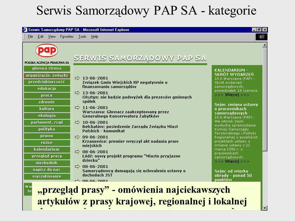 Serwis Samorządowy PAP SA - kategorie