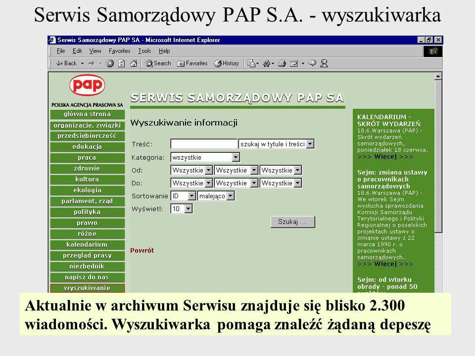 Serwis Samorządowy PAP S.A. - wyszukiwarka