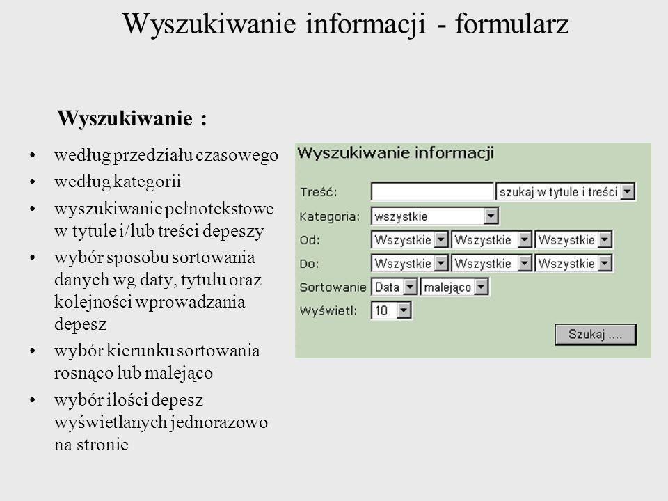 Wyszukiwanie informacji - formularz