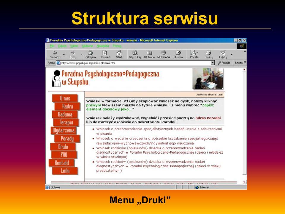 """Struktura serwisu Menu """"Druki"""
