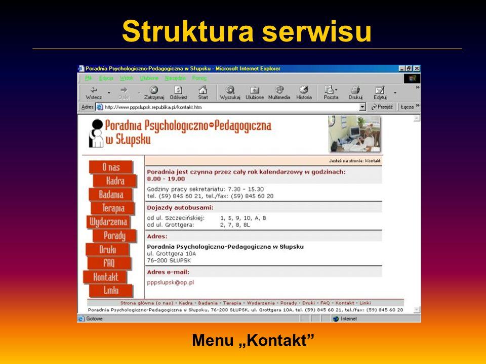 "Struktura serwisu Menu ""Kontakt"
