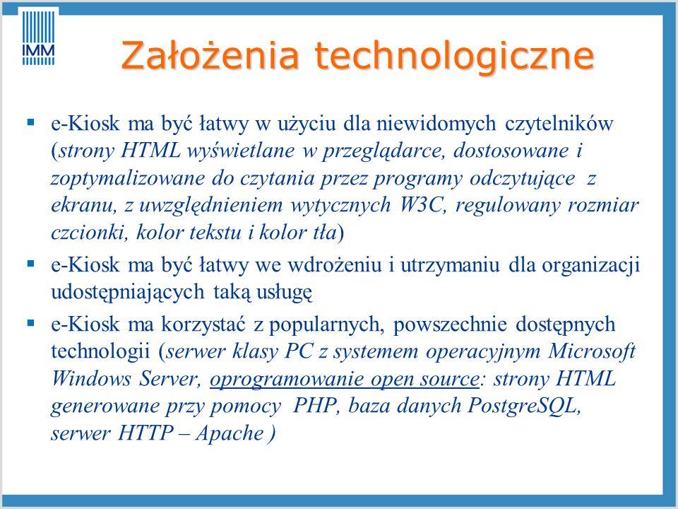 Założenia technologiczne